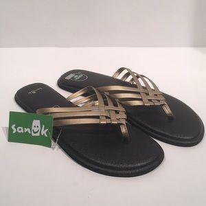 Sanuk Yoga Salty Metallic Criss Cross Yoga Sandal